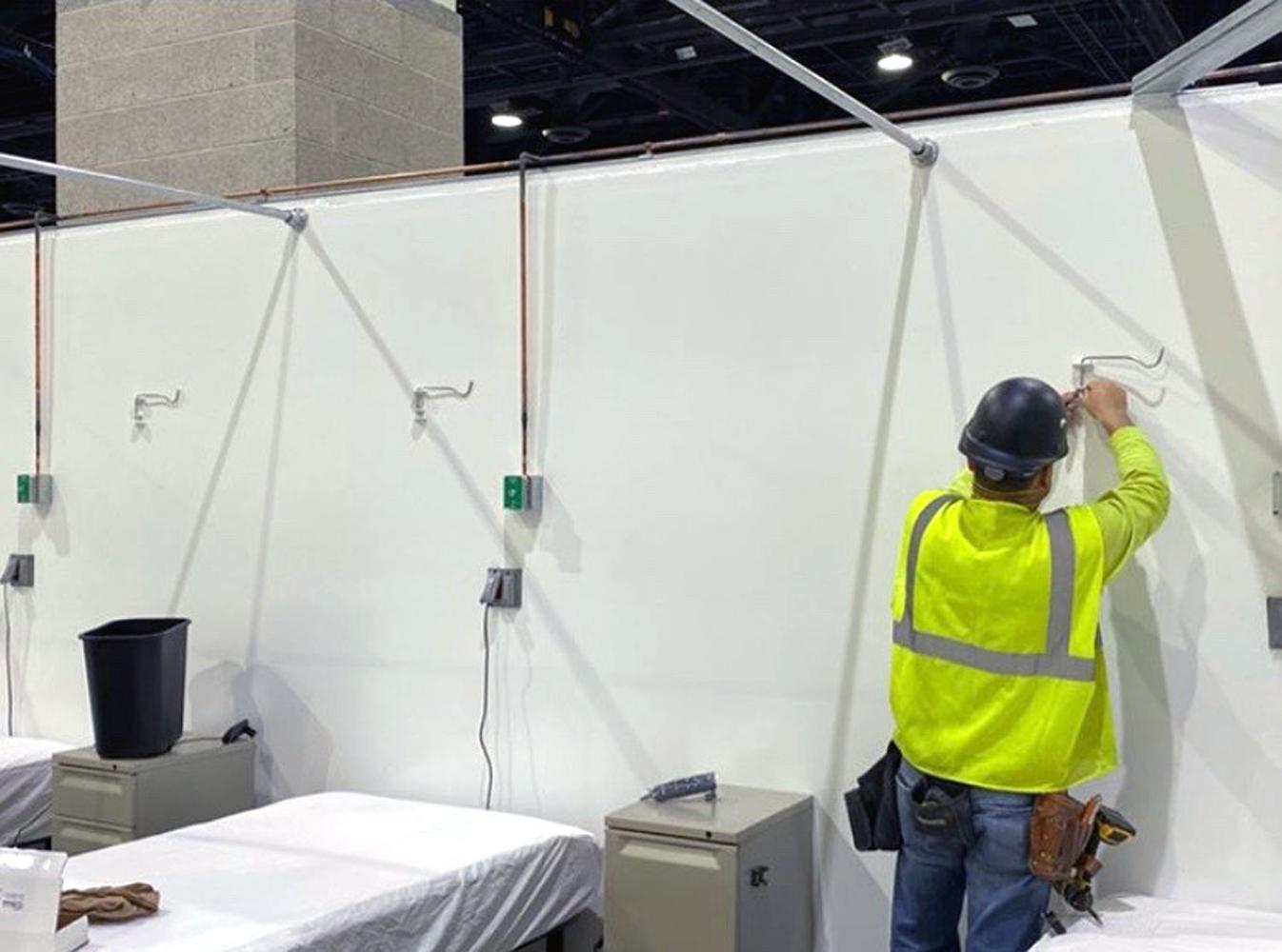 IV Hook Installation in Rhode Island Field Hospital