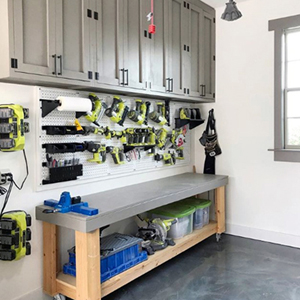 Shanty 2 Chic Workbench with Wall Control Pegboard