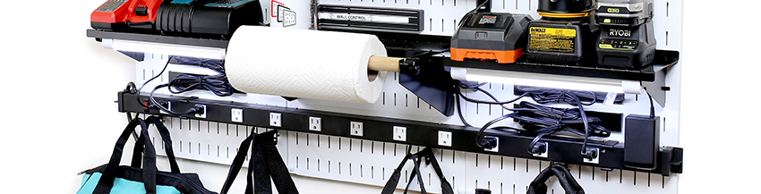 Power Strip Charging Station Outlet Rail Mounted To Pegboard