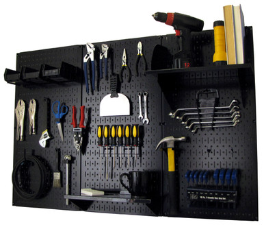 4ft Metal Pegboard Standard Tool Storage Kit - Black Toolboard with Hooks