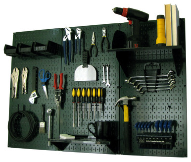 4ft Metal Pegboard Standard Tool Storage Kit - Green Toolboard with Hooks