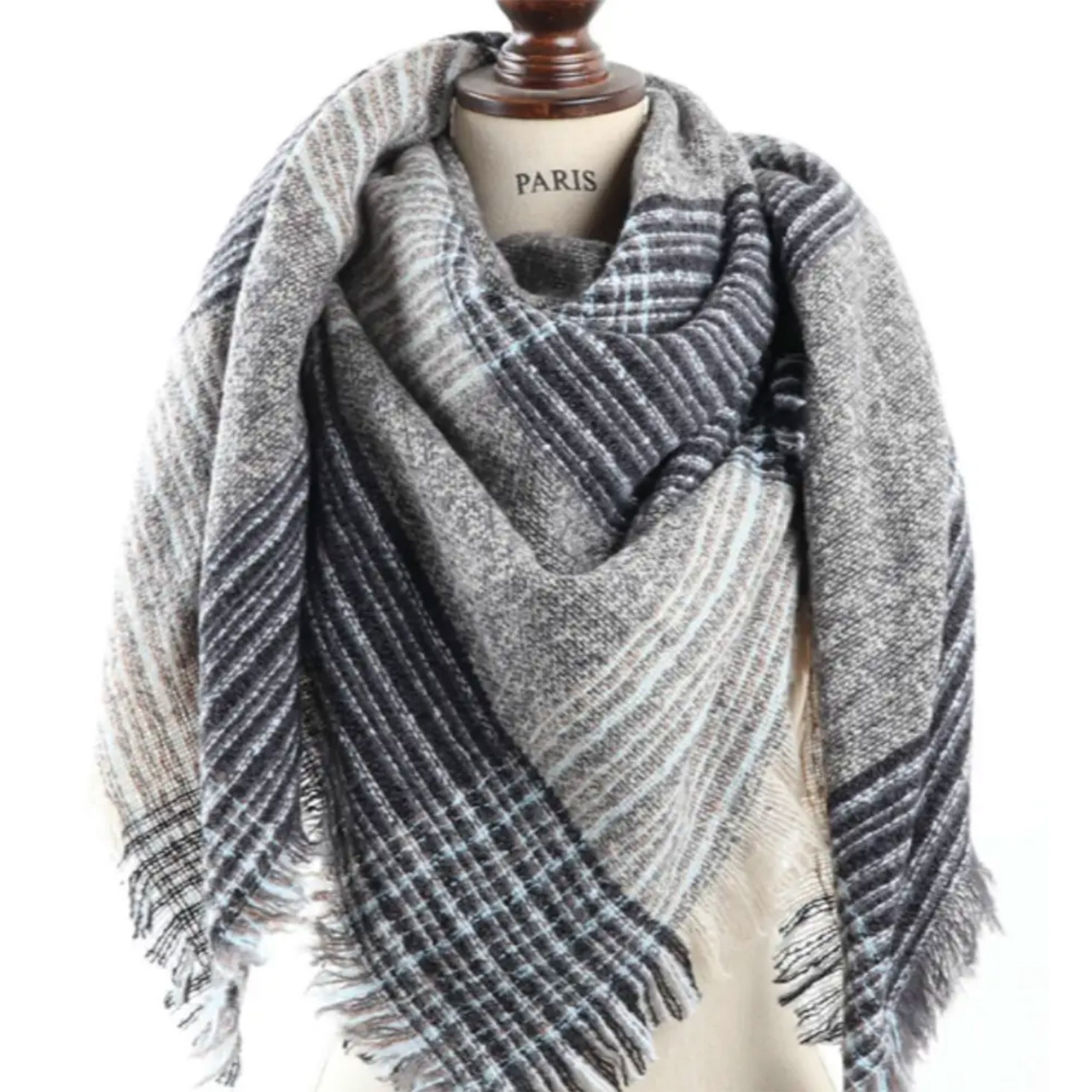 Plaid Square Blanket Scarf In Grey Blue Green Envy Boutique Vt
