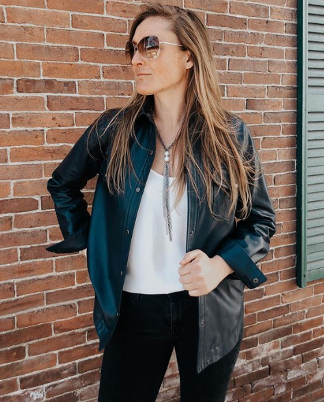 Women's Leather Shirt Jacket Online