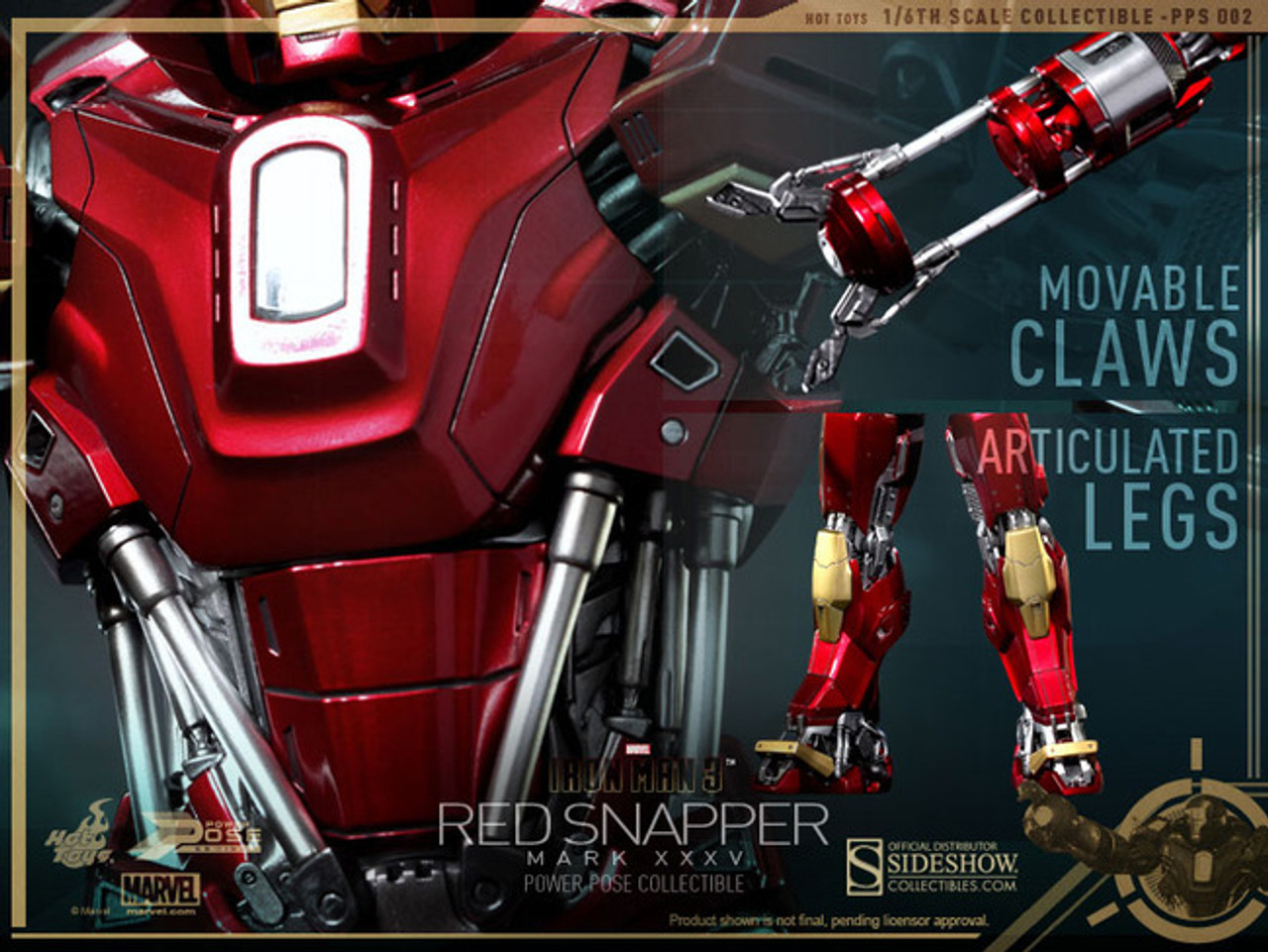 """Hot Toys 1/6 12"""" PPS002 Red Snapper Iron Man Mark XXXV Figure"""