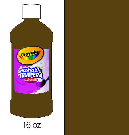 374502, Crayola Artista II Washable Tempera, Brown, 16oz.