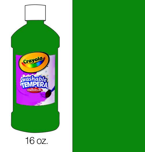 374503, Crayola Artista II Washable Tempera, Green, 16oz.