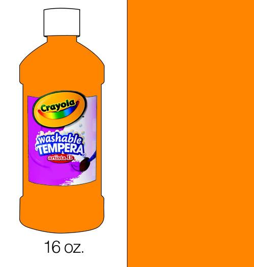 374505, Crayola Artista II Washable Tempera, Orange, 16oz.