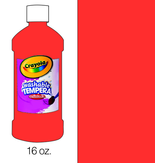 374507, Crayola Artista II Washable Tempera, Red, 16oz.