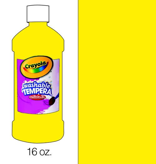 374511, Crayola Artista II Washable Tempera, Yellow, 16oz.