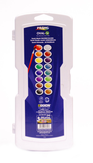 3743151, Prang,Semi-Moist Watercolors, 16 oval pan colors w/brush