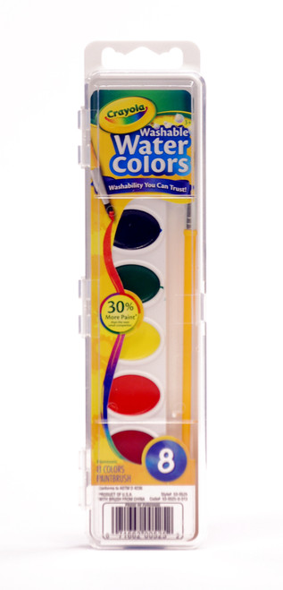 374298, Crayola Washable Watercolors Oval Pan, 8 colors w/brush