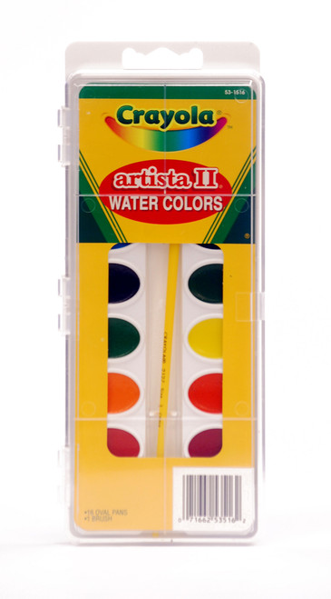 374301, Crayola Artista II Oval Pan, 16 colors w/brush