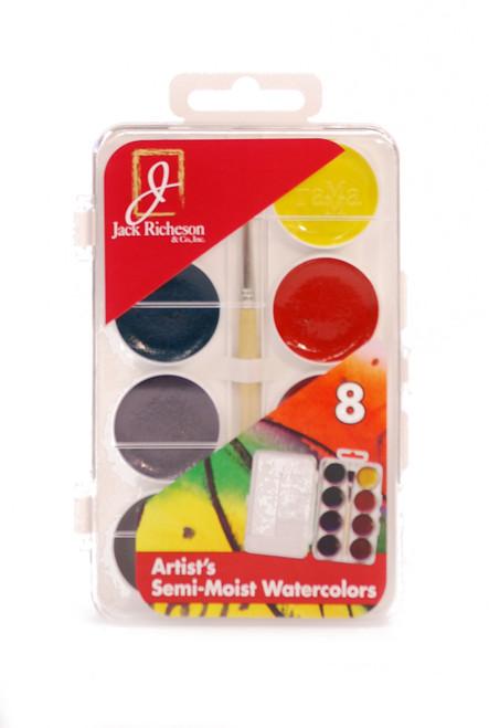 374485, Richeson Semi-Moist Watercolors, 8 color Set w/brush