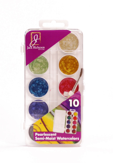 374487, Richeson Semi-Moist Watercolors, Pearlescent, 10 color Set w/brush