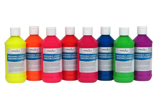 382128, Handy Art Flourescent Watercolor Kit, 8 colors, 8oz.