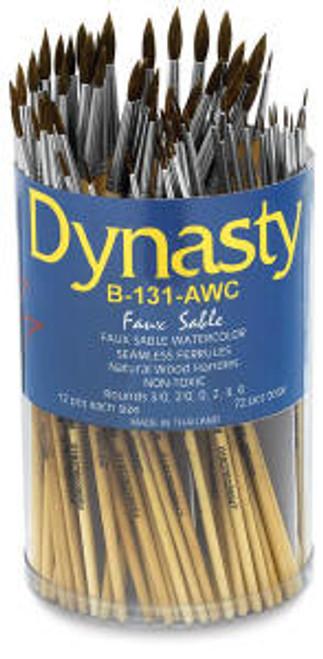 407050, Dynasty B-131 A.WC Imitation Sable Brushes, Rounds, 72/ct.