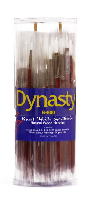 406916, Dynasty B-800 White Taklon Brushes, Rounds,  120/ct.