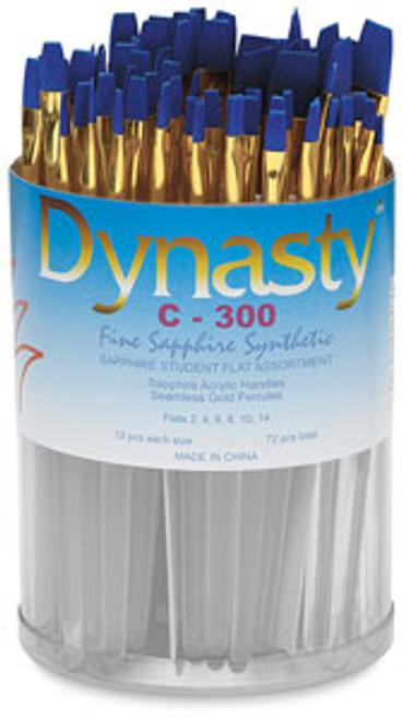 406923, Dynasty C-300 Sapphire Watercolor Brushes, Flats, 72/pc.