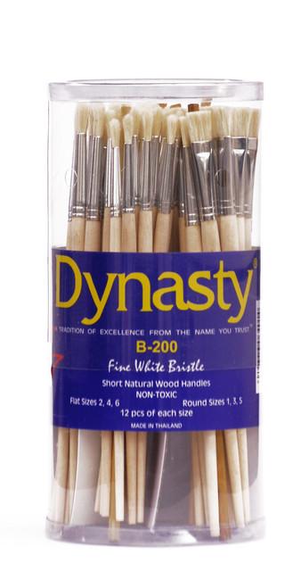 406911, Dynasty B-200 White Bristle Brushes, Flat & Round, 72/pc.