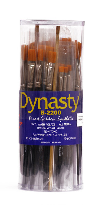 406927, Dynasty B-2200 Golden Synthetic, Flats, Washes & Glaze, 40/pc.