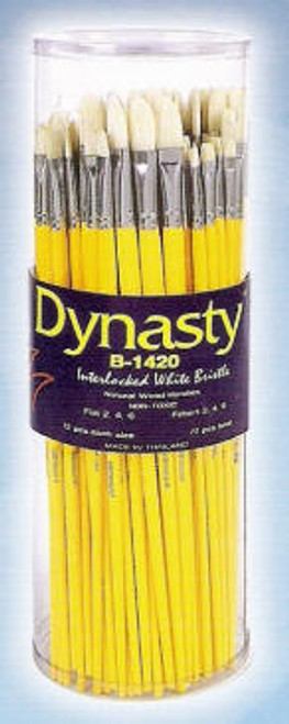 407053, Dynasty B-1420, White Bristle, Brights & Filberts, 72/pc.
