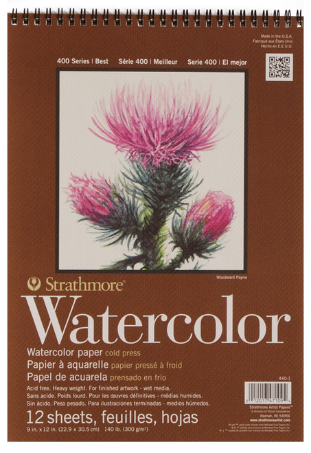 "341640, Strathmore Watercolor Pad 400 Series, 9""x12"" 12 sheets"