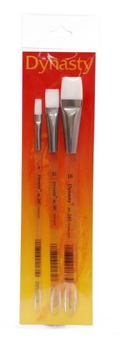 406919, Dynasty White Nylon Brush Set, 3/pc.