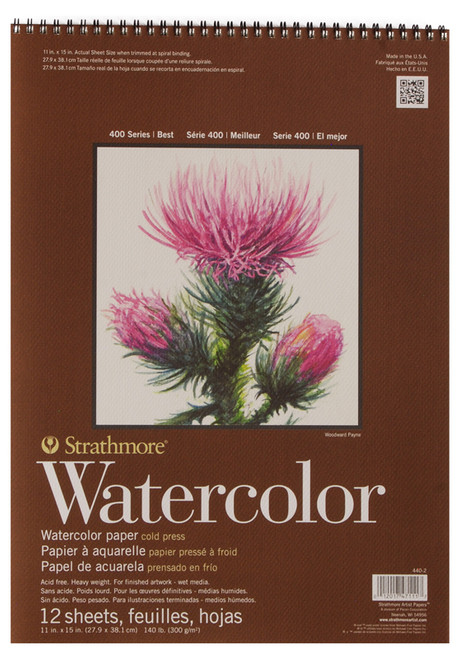"341642, Strathmore Watercolor Pad 400 Series, 11""x15"" 12 sheets"