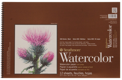 "341641, Strathmore Watercolor Pad 400 Series, 12""x18"" 12 sheets"