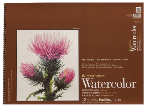 "341639, Strathmore Watercolor Pad 400 Series, 18""x24"" 12 sheets"
