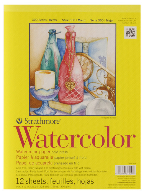 "341665, Strathmore Watercolor Pad 300 Series, 9""x12"" 12 sheets"