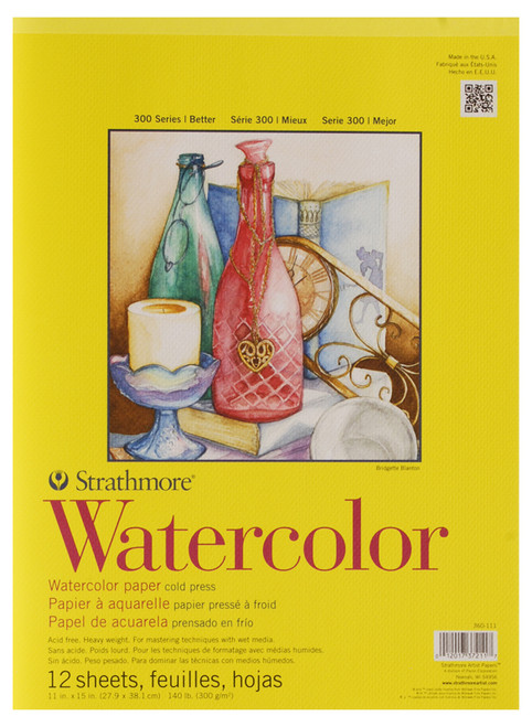 "341666, Strathmore Watercolor Pad 300 Series, 11""x15"" 12 sheets"