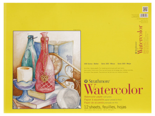 "341667, Strathmore Watercolor Pad 300 Series, 18""x24"" 12 sheets"