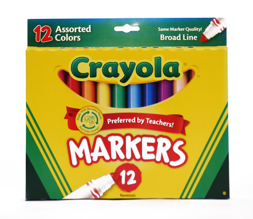 438022, Crayola Markers, Conical Tip, 12 Assorted Colors