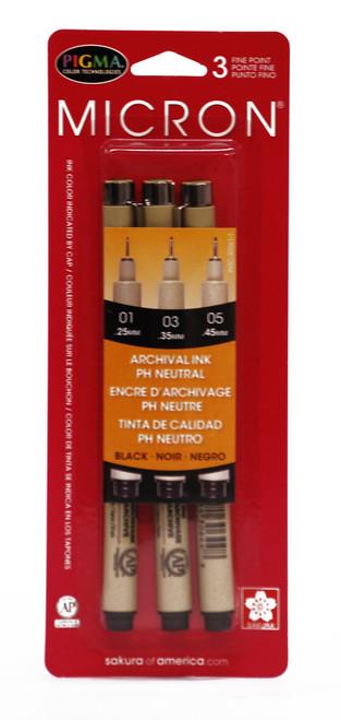 432011, Pigma Micron Pen Set, Black, 3/pens