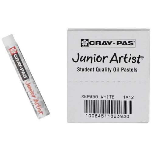 447654, Cray-Pas Junior Artist Oil Pastel, White, 12/pastel