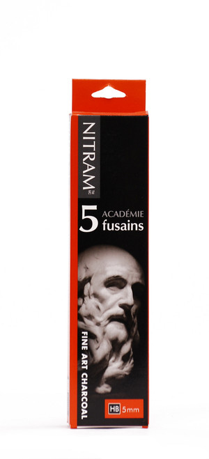 "446976, Nitram Academie Fusains, Traditional, HB-Medium, 6""x.19"", 5/pkg"