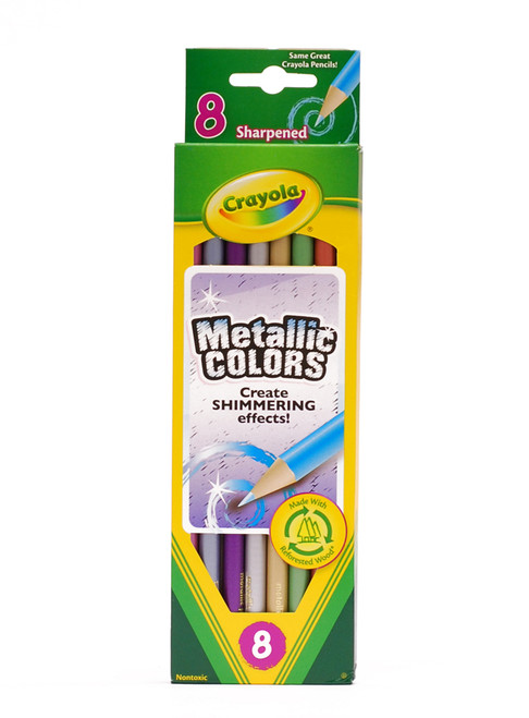 446499, Crayola Metallic Colored Pencils, 8 color Set