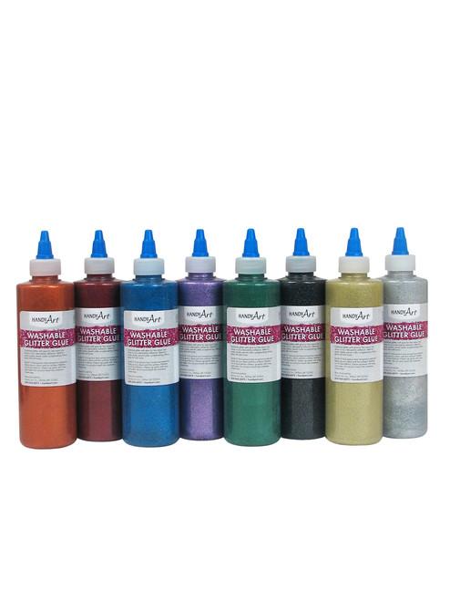 572169, Handy Art Washable Glitter Glue Set, 8oz., 8/bottles