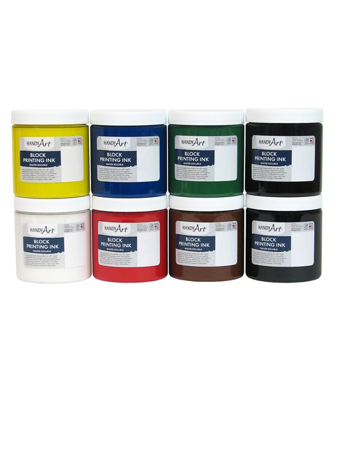 625036, Handy Art Water Soluble Block Printing Ink 8 Color Set, 1/2 lb. Jars