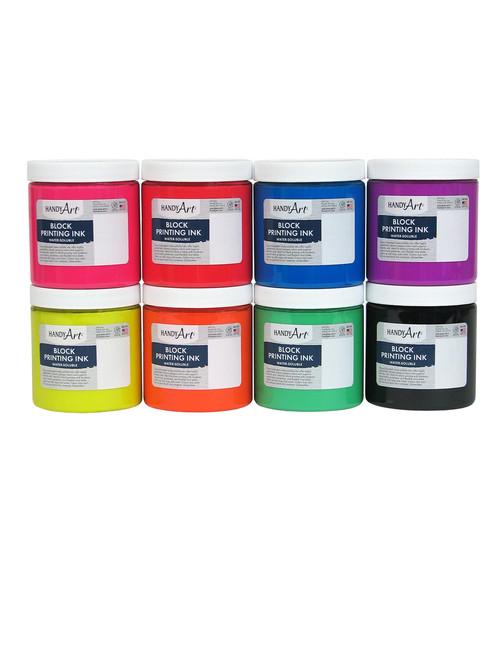 625037, Handy Art Water Soluble Block Printing Ink 8 Color Set,Fluorescent, 1/2 lb. Jars