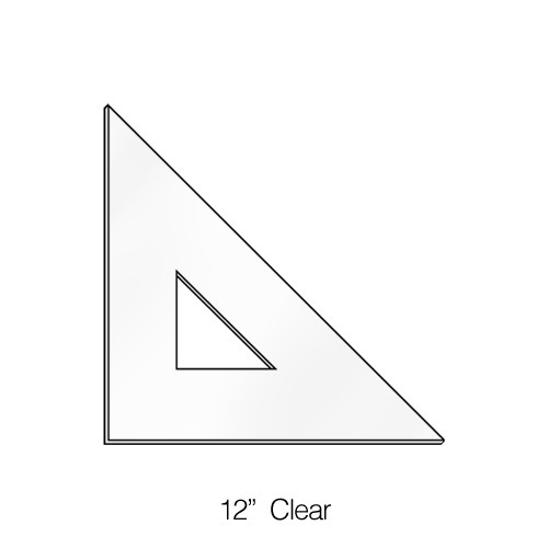 """575012, Triangle 45degree, Clear, 12"""""""