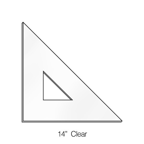 """575014, Triangle 45degree, Clear, 14"""""""