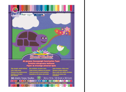 """341323, Sun Works Construction Paper, Bright White, 9""""x12"""" 50 sheets"""