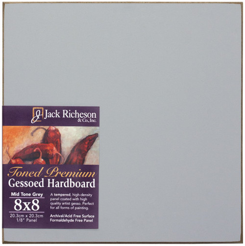 "364906, Mid-Tone GREY  1/8"" GESSO HARDBOARD PANEL, 8""x 8""              each"