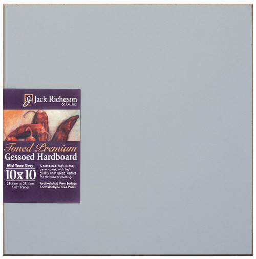 "364909, Mid-Tone GREY  1/8"" GESSO HARDBOARD PANEL, 10""x 10""              each"
