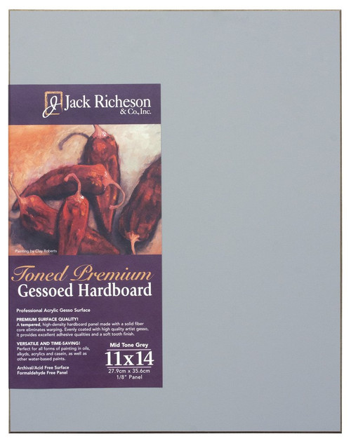 "364910, Mid-Tone GREY  1/8"" GESSO HARDBOARD PANEL, 11""x 14""              each"