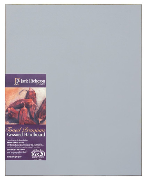"364915, Mid-Tone GREY  1/8"" GESSO HARDBOARD PANEL, 16""x 20""              each"