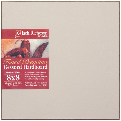 "364926, UMBER  Wash  1/8"" GESSO HARDBOARD PANEL, 8""x 8""              each"