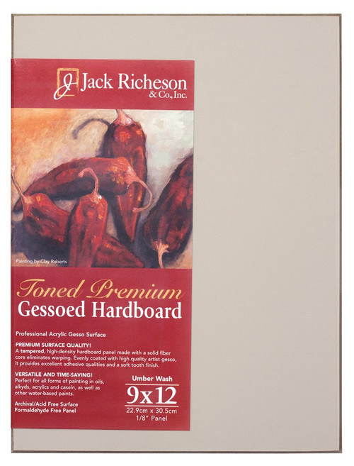 "364928, UMBER  Wash  1/8"" GESSO HARDBOARD PANEL, 9""x 12""              each"